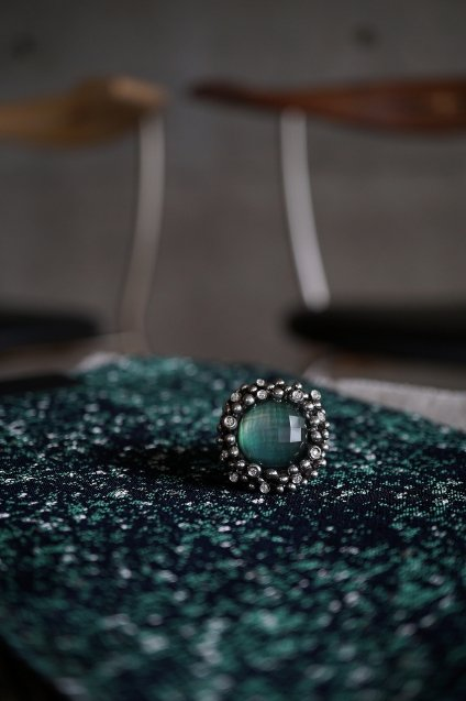 Diamond Ring (ダイヤモンドリング)[AN909]Silver Greenagete/Mother of Pearl/Crystal】Freesize