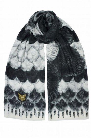 カシミア大判ストール XL長方形 アニマル柄Foxfur White/Black