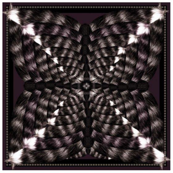 カシミア大判ストール 正方形 アニマル柄 Foxes DarkBrown/Purple 限定1点物