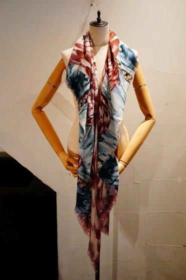カシミア大判ストール 正方形 アニマル柄 ウイング羽根 Pink/Blue