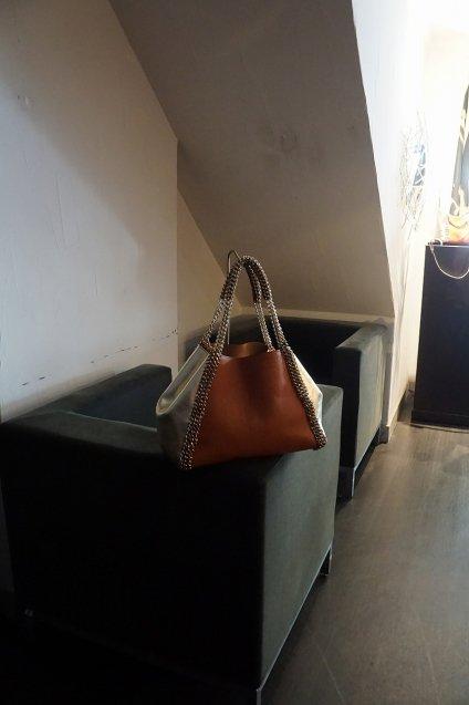 de Couture(デクチュール)チェーンレザートートバッグ横長Mサイズ  Orange/PlatinoGold[D14]