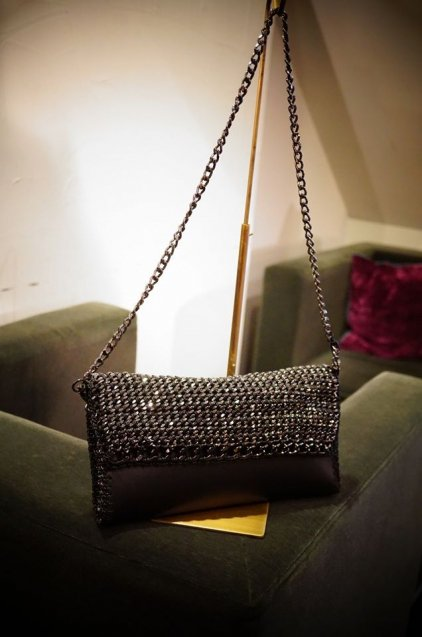 de Coutureチェーンレザークラッチバッグ 2WAY Black