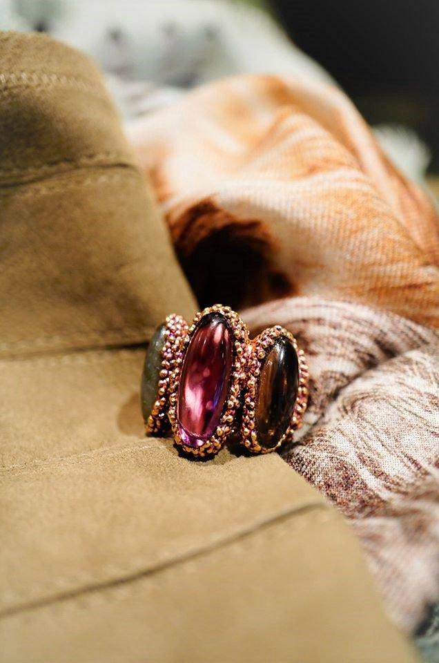 ZEN collection Ring(リング)[AN158 OTVIO Amesist/Smoky.Q/Labradorite オーダー商品
