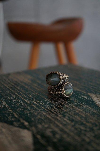 Diamond Snake Ring (ダイヤモンドリング)AN920 BZBR Labradorite  Freesize