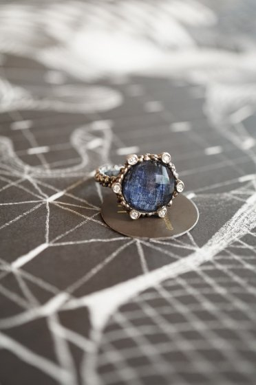 Diamond small Ring AN913 AGBRシルバー Sodalite/Onix/Crystal