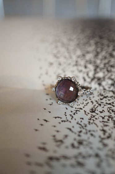 Diamond small Ring AN913 AGBRシルバー Amesist/Mother of Pearl/Crystal