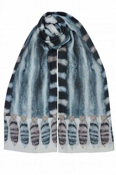 カシミア大判ストール XL長方形 アニマル柄Tail Deer Blue/White/Multi 残り1枚