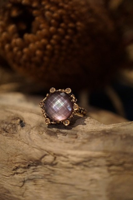 Diamond small Ring AN913 BZBR Amesist/Mother of Pearl/Crystal  オーダー商品