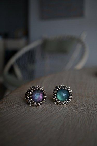 Diamond Ring (ダイヤモンドリング)[AN909 BZBR Bronze Greenagete/Black mother of pearl/Crystal】Freesize オーダー商品