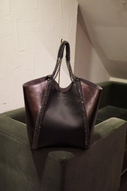 de Couture(デクチュール)チェーントートバッグ Black/Metallic Silver[D18 L Size]