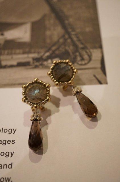 Honey Collection Pieces (ピアス) OR1336 OTAG Labradorite/Smoky.Q