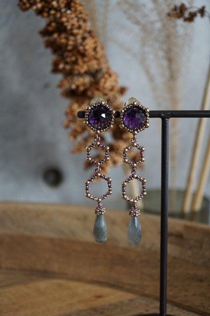Honey Collection Long Earrings(イヤリング) OR1340 OTVIO Amesist/Labradorite