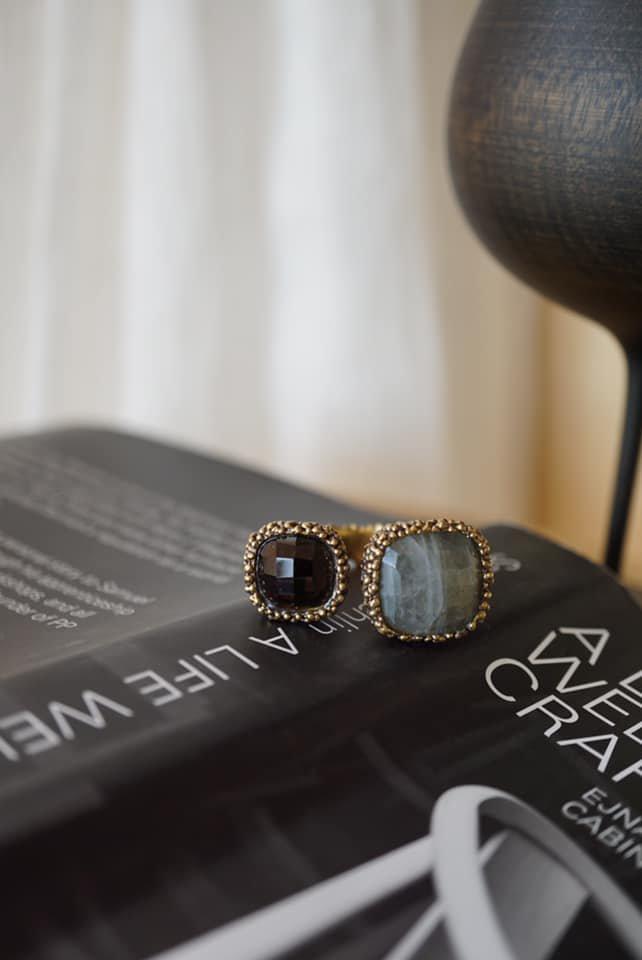 Segreti Collection double stone Ring (リング)[AN157 OTBR Labradorite/Smoky.Q