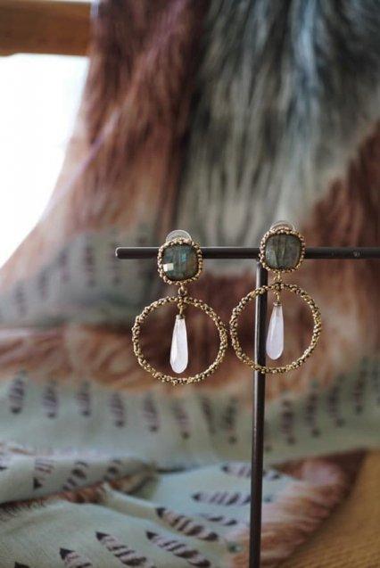 Charlotte Collection Earrings(イヤリング) OR1326 OTVIO Labradorite/Rosa.Q