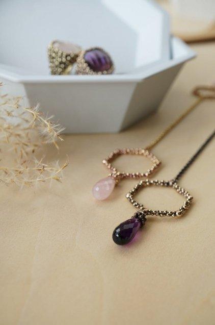 Honey Collection V-LINE Necklace(ネックレス)[CL 5618 BZBR Amesist]