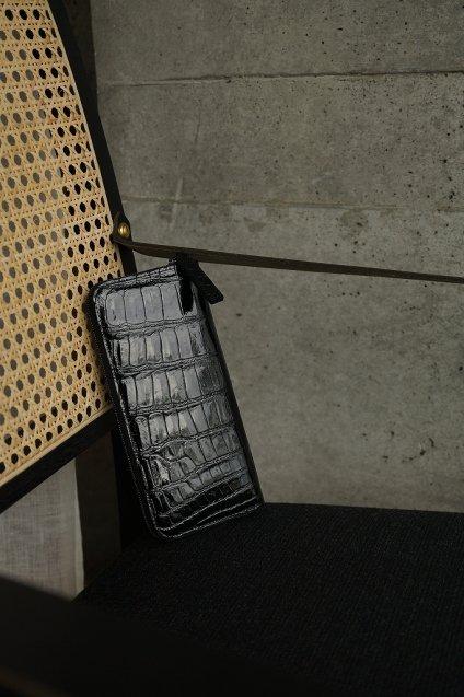 【期間限定販売】JUNYA WARASHINA(ジュンヤ ワラシナ) Wallet(ZIP) Lacina mini  crocodile BLACK