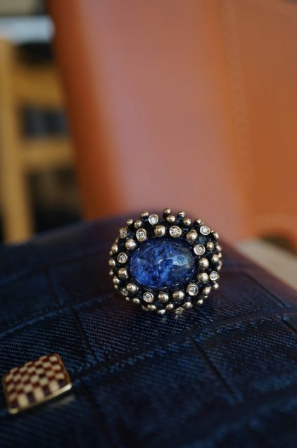 Diamond Ring (ダイヤモンドリング)[AN907]Bronze Sodalite/Onix/Crystal】Freesize