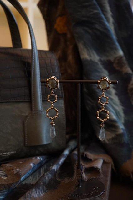 Honey Collection Long Earrings (イヤリング) OR1340 OTBR Labradorite