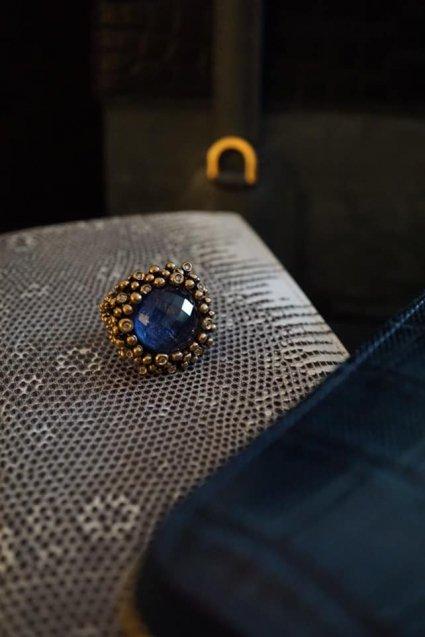 Diamond Ring (ダイヤモンドリング)[AN909 BZBR Bronze Sodalite/Black mother of pearl/Crystal】Freesize