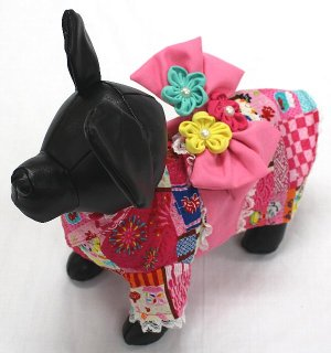 愛犬用 浴衣 屋台柄 ピンク