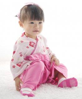 可愛い!はかま風ロンパース(カバーオール)女の子 赤・ピンク 袴風の簡単に着られるロンパースです!