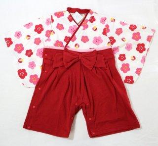 はかま風 ロンパース (カバーオール)女の子 赤、ピンク 70,80,90cm 袴風の簡単に着られるロンパースです!