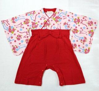 はかま風 ロンパース(カバーオール)女の子 ピンク 70,80,90cm 70,80cm 袴風の簡単に着られるロンパースです!