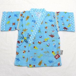 こども甚平10 男の子 折鶴こま 水色 衿袖口ドット