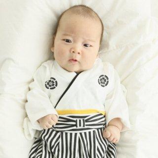 はかま風 ロンパース 男の子 着物白 サイズ70cm、80cm 90cm 袴風 カバーオール