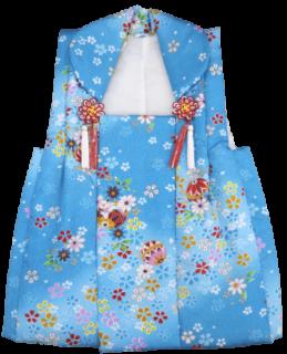 三才 女の子 被布 地色青 桜毬柄