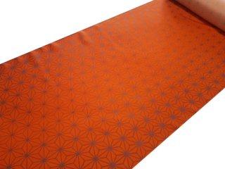 正絹長襦袢地 紅緋色に麻の葉 黄みよりの赤