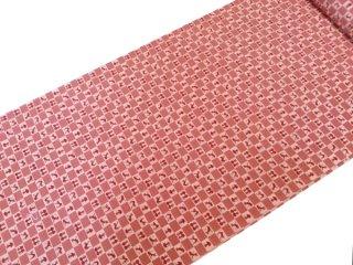 正絹長襦袢地 市松に猫 ピンク