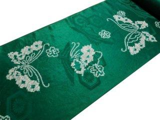正絹長襦袢地 綸子 緑地に絞り蝶