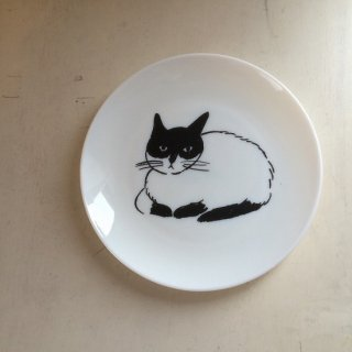 松尾ミユキ ミルクガラスプレート(cat)