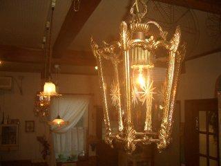 アンティークホールガラスランプ