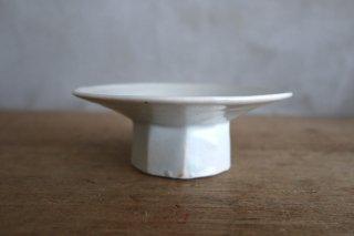18 白瓷 高台面取台皿(在庫4点のみ) / タナカシゲオ