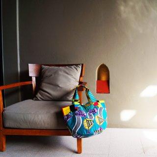 アフリカンバティックBAG/1点もの/ターコイズ柄ものバッグ