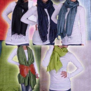 シルク100%カラーショール♪カラフルで色がきれいな9色展開  インドシルクスカーフ/ショール