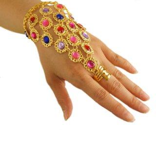 カラフル☆ビジュウ/ストーンが美しい!オリエンタルSEXYベリーダンスに!指輪とブレスをビジュウで結ぶアラビアンアクセサリー