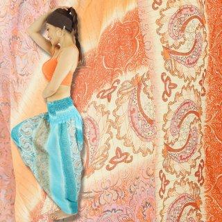 2WAY♪さわやかブルー&オレンジ2色展開★きれい色のペイズリー柄のコットンサルエルパンツ★おしゃれ