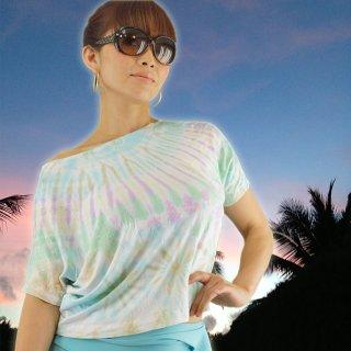大人気★ミルキーレインボーパステルシリーズ♪セレブなゆるTシャツ♪形がキレイ♪タイダイ★エスニック