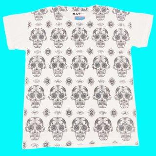 お花のデザインのメキシカンスカル柄がとってもカワイイ♪グラフィックデザインTシャツ☆【ドクロ★ガイコ