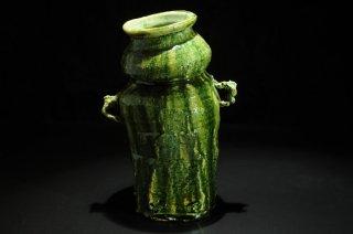 西岡悠 織部花入 [Oribe Hanaire by Yu Nishioka]vase