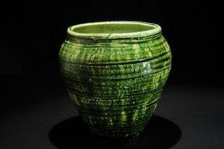 西岡悠 織部花器 [Oribe kaki by Yu Nishioka]vase