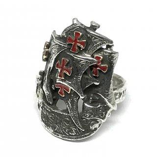 SILVERELLA シルバーエラ リング《送料無料》Spanish Galleon Ring w/14k Cross Red Enamelスパニッシュガレオンリングウィズ14金クロスレッドエナメル