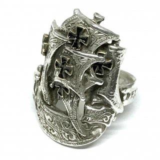 SILVERELLA シルバーエラ リング《送料無料》Spanish Galleon Ring w/14k Cross BK Enamelスパニッシュガレオンリングウィズ14金クロスブラックエナメル