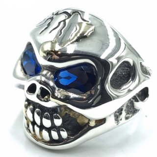 TRAVIS WALKER TW トラヴィスワーカー リング《送料無料》CRACK SKULL RING WITH STONE EYES(BLUE SAPPHIRE) & GOLD DRIZZLE