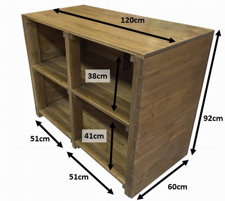 木製レジカウンター・受付カウンター_フラット_幅120cm×奥行60cm×高さ92cm_オーク+ニス_C004OK