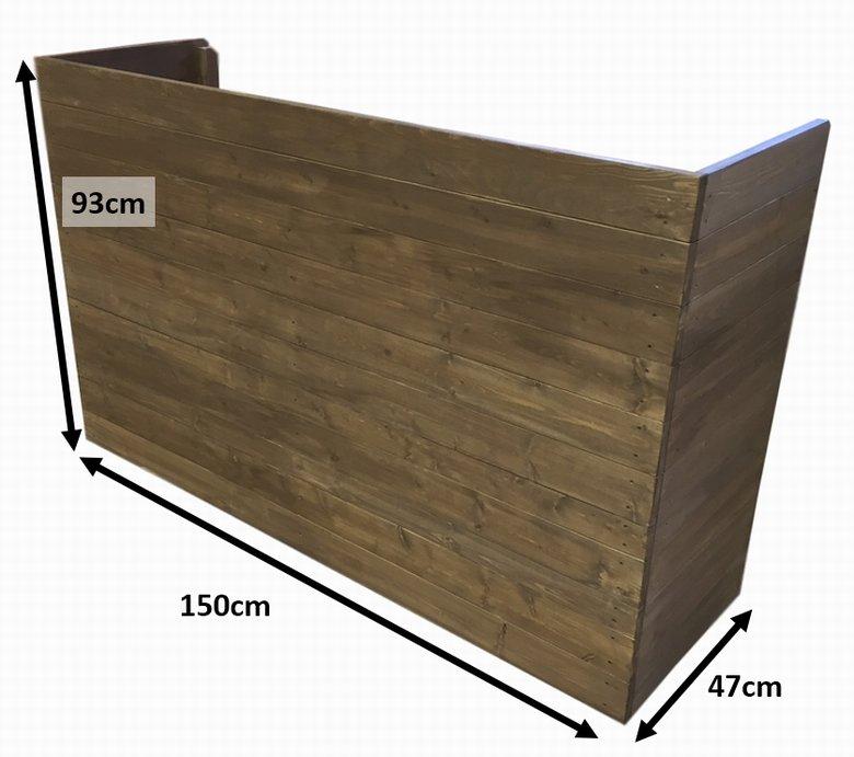 木製レジカウンター・受付カウンター_幅150cm×奥行47cm×高さ93cm_オールナット_C007WN