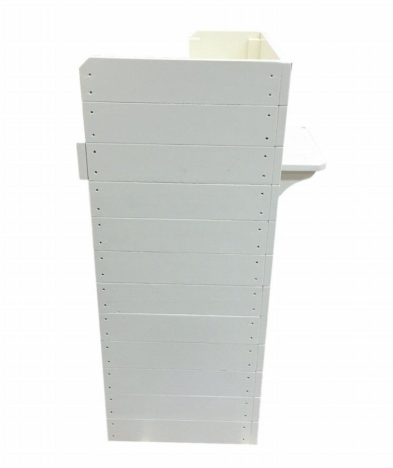 木製レジカウンター・受付カウンター_スリム_バック置付_幅75cm×奥行60cm×高さ108cm_ミルキーホワイト+ニス_UN839MWH